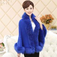 2014 Winter new  women faux fur leather loose wool woolen coat woolen cape coat grass short paragraph