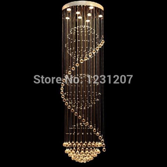 nova chegada 2014 espiral moderna lustre de cristal do projeto para sala grande iluminação da escada frete grátis(China (Mainland))