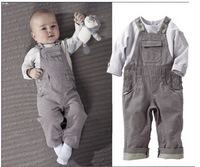 Wholesale 2014 boy leisure tshirt boy tshirt +pants kids gray clothing set boy bib 5pcs.lot