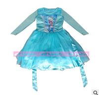 Wholesale 2014 girls floral dress girl fashion cartoon dresses kids lovely blue dress