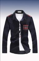 2014 Hitz Stitching Thin Solid Corduroy Navy Blue Color Long-sleeved Shirt 5XL Male Men Shirt Slim Fit Long Sleeve