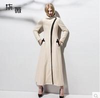 High Quality Street fashion personality woolen overcoat zipper X- Long wool coat coat women