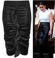 FREE SHIPPING 2014 New Ladies Black PVC Frill Pencil Midi Skirt Size S/M/L/XL NA71062 Sexy Bodycon Skirts Women