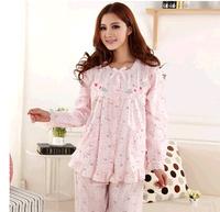 new 2014 100% cotton women sleepwear / floral women pajama sets long-sleeve elegant lady Pajamas nightgown Free shipping