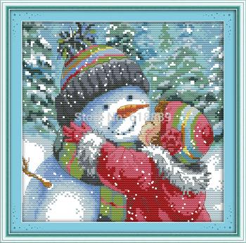 Поцелуй снеговик счетный крест вышивка крестом 11CT 14CT DMC вышивки крестом комплект сделай сам вышивка крестом комплект для вышивания домашнего декора рукоделие