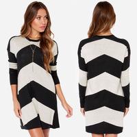 2014 casual women striped sweater long warm sweater with neck women