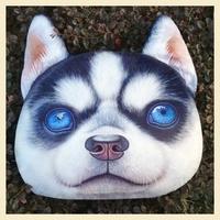 Nordic Chair Pillow Personality Car Cushion Cover Creative  Blue Eye  Huskyr Dog  shape Nap pillow Cover Cute seat cushion
