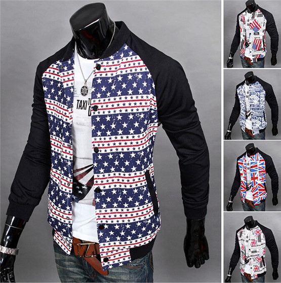 Fashion Western Flag Star Newspaper Printed Jacket For Men Zipper Long Sleeves Patchwork Plus Size Casual Plus Size Autumn Coat(China (Mainland))