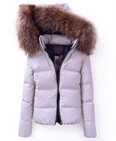 2014 Hot Sale Luxury Larger Fur Collar Winter Jacket Women Down Jacket PU leather Thicken Both Side Wear Women Down Coat Parkas