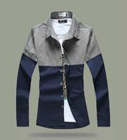 5XL Houndstooth Men Hitz Patchwork Long Sleeve Fit Shirt New Spring 2014 Fashion Casual Man Shirts Men