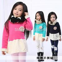 2014 Autumn Girls Cotton Dress Children Baby Non - inverted Velvet Long Sleeve Princess Dress Kids Clothing Free Shipping 5 PCS