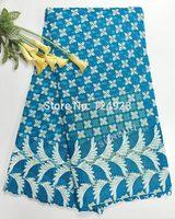 Top quality 5 yards Shining metallic lurex cupion guipure lace African cord lace fabric beautiful border 9034-2 turquoise