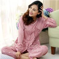 Female sleepwear spring and autumn long-sleeve plus size plus size cartoon casual cardigan sleep set lounge free shipping