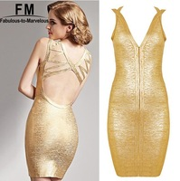 Gold Bodycon Bandage Dress Sexy Deep V neck Backless Celebrity Dresses New Year Knitted Rayon Spandex 2014 New Fashion AW14D047
