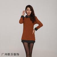 autumn and winter 2014 latest fashion Korean style collar doll polka dot long-sleeved knit shirt women T-shirt M L XL