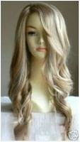 Fashionable long curly hair make the hair blond wig / Free Shipping