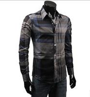 Good Quality Fashion Casual Menswear Trend Plaid Luxury Men Shirts Long Sleeves Striped Men's Shirt