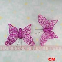 12 Fushia Organza Butterfly Artifitial Wedding Party Decoration Favor Scrapbooking 8CM