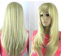 Charming long Straight Blonde Women hair wig / Free Shipping