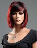 Ladies Short Black Red Blend Wig! Classy Bob Style from Premium VOGUE Wigs / Free Shipping