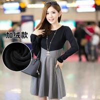 Dress New 2014 women dress long-sleeve  cotton render dress patchwork solid slim girl casual dress plus size autumn dress