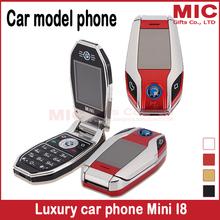 Flip unlocked Russian Keyboard French Spainish German dual sim cards super car model car key mini mobile cell phone Mini I8 P428