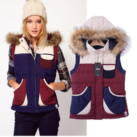 2014 winter women  brand vest  collar hooded hit color classic down vest S,M,L,wholesale free shipping