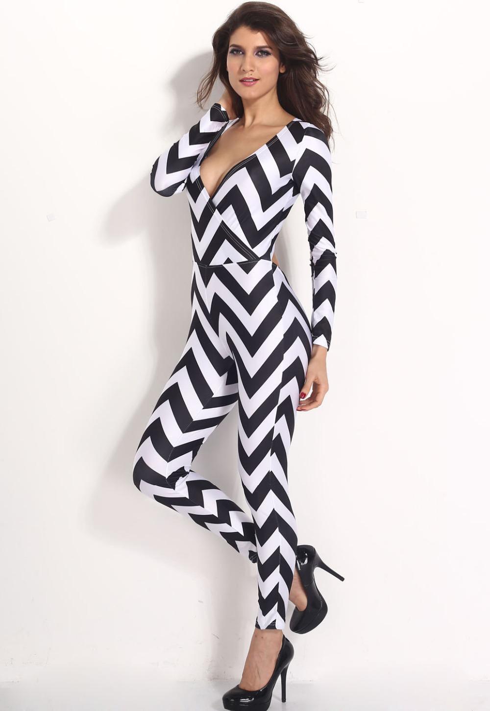 elegante apertado 2014 novo venda quente baratos preto sexy& branco zig zag macacão zy6419 frete grátis(China (Mainland))