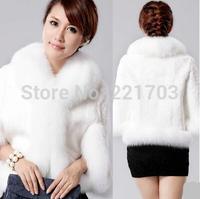 2 color White and Black Hot sale Winter coat women 2014 New High Quality Faux Fur coat ,Slim jacket women 01