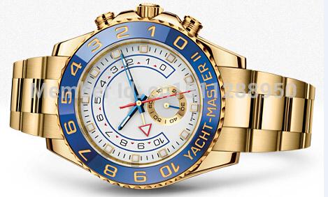 2014 fashion men's luxury sports watch YACHT MASTER II automatic ceramic bezel original clasp oyster perpetual man watches(China (Mainland))