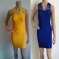 2014 High Quality New Fashion  Blue and orange V-Neck hollow out Bandage Dress Hot  Evening Dress wholesale free shipping