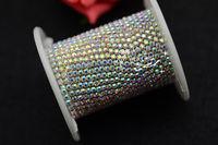 SS8  2.5mm handmade crystal AB Rhinestone trimming close chain silver Cake Ribbon Trim sewing accessories
