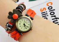 9 colors Popular Waches Women/girl  Leather wrist watch flower pendant fashion vintage Roman numeral quartz watch