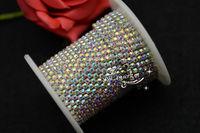 SS12  3mm  Fashion crystal  AB Rhinestone trimming close chain silver Cake Ribbon Trim Garment Accessories
