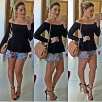 New 2015 Fashion Women Clothing Sexy Shoulder off Long Sleeve Solid Bottom Pleated Women T-Shirt Casual Tshirt Slash Neck