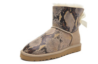 Int'l brand Genuine Leather Real Wool inside Waterproof Warm women winter Snow boots Mini Bow Snake Metal Australia ankle boot