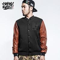 HardlyEvers original trend Harajuku PU  stitching cotton baseball jacket male coat outwear