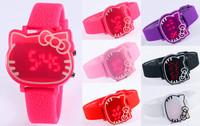 2014 New Children Wristwatches Fashion Hello Kitty Cartoon Watches Fashion Digital Watches Casual Silicone sports watches Drop