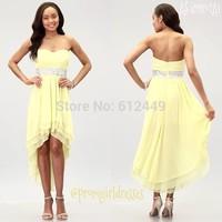 2014 Custom Made Light Yellow Crystal Chiffon Bridesmaid Dresses Fashion Ankle-Length Elegant Sweetheart Dress