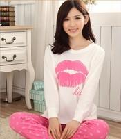 2015 Sexy woman lips Ms. long-sleeved cotton pajamas tracksuit suit pajamasWL3039