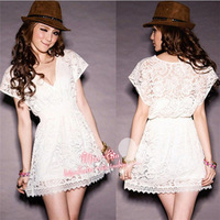 2014 Summer Hot women floral Short Sleeve Lace Dress lady Casual Loose V-neck Vintage embroidery hollow out dress Plus Size