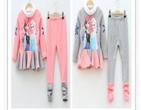 Top On top wholesale new 2014 Autumn fashion Elsa&Anna Frozen clothes Cartoon girls long-sleeved clothing  set LFR09270064M