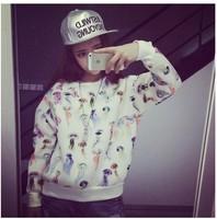 Korean Women Early Autumn Hoodies 2014 Fashion Colorful Cute Jellyfish Printed Pullover Casual Sweatshirt WE1069