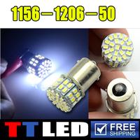 1pcs/lot led 1156 50smd 50 smd led ba15s 1156 1157 1206 white car led 1156 stop light and brake turn signal corner light #TF02