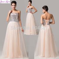Sweetheart Grace Karin Vestido De Noite Longo Strapless Sequins Ball Evening Gowns Banquet Prom Long Wedding Party Dress CL6109