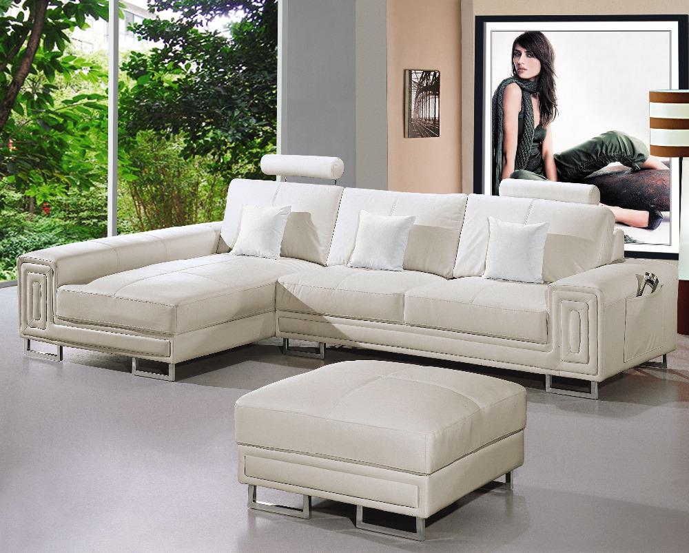 goedkope moderne sectionele sofa wit met beweegbare ottoman # 2265 ...
