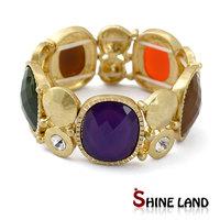 Gold color plated colorful enamel shiny rhinestone pulseiras feminias women fashion adjustable statement cuff bangle bracelet