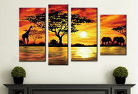 Frameless DIY Painting By Numbers Acrylic Drawing Art Set Canvas Wall Picture Handmade Oil Painting On Canvas African Landscape