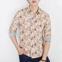 2014 New Arrival Ladies Flower Shirts Cotton Vintage Floral blouse Custom Slim Shirt Women's Fashion Casual Shirts S M L XL XXL