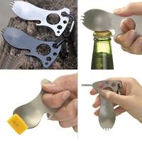 Portable Pocket Camping Survival Gear Screwdriver Carabiner Spork Bottle Opener